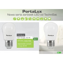 Żarówka PortaLux E27 Kropla 5,5W (A+, 2700K, 470lm,kąt 200°) TECHNISAT